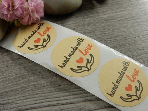 Handmade with love tarra, 25mm, kädet, 10kpl
