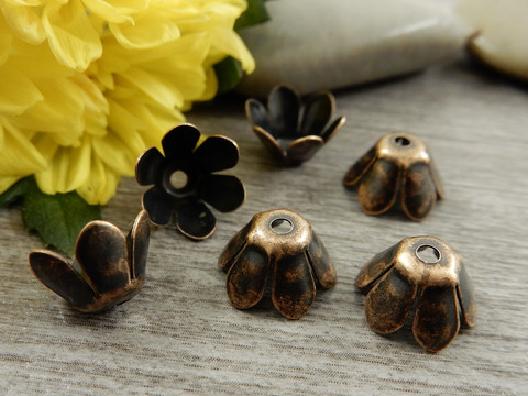 Helmihattu kukka, 10mm, kupari, 10kpl