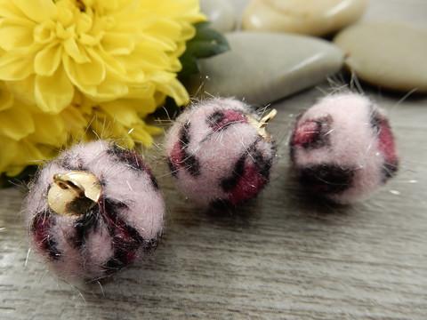 Karvapalloriipus, 17x14mm, vaaleanpunainen-pinkki-musta/kulta, 1kpl