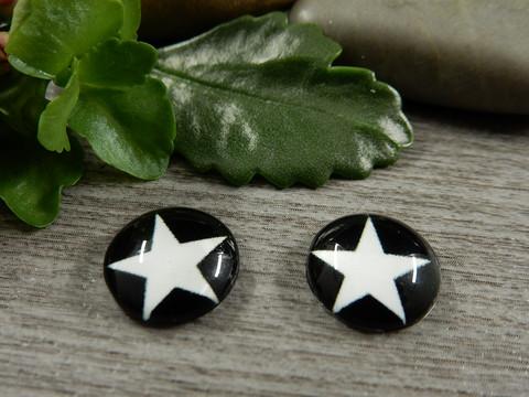 Kapussi tähti, 12mm, musta-valkoinen, 1kpl