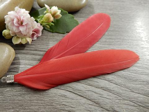 Hanhen sulka/höyhen , n.7cm, punainen, 1kpl