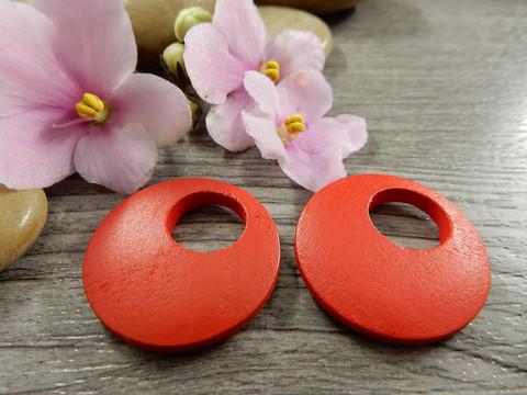Ympyrä puuriipus, 25mm, punainen, 1kpl