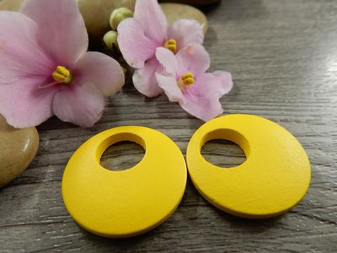 Ympyrä puuriipus, 25mm, keltainen, 1kpl