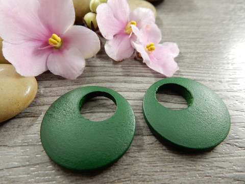 Ympyrä puuriipus, 25mm, vihreä, 1kpl