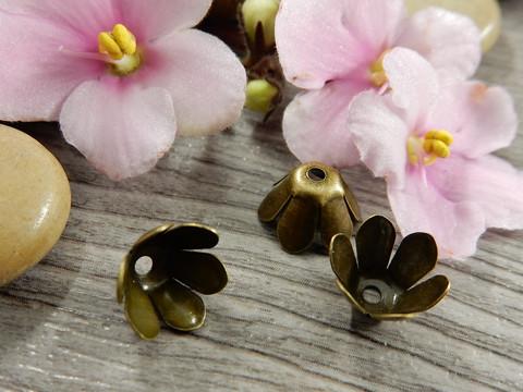 Helmihattu kukka, 10mm, pronssi, 10kpl