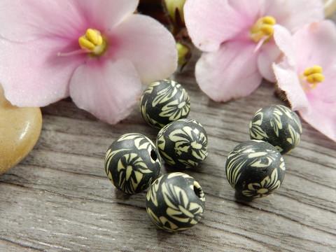 Fimohelmi, 8mm, kukkia, 1kpl