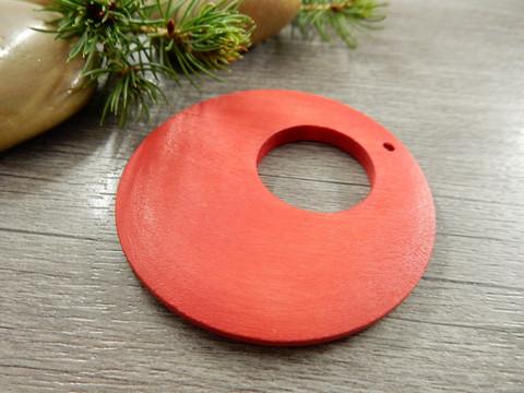 Ympyrä puuriipus, 60mm, punainen, 1kpl