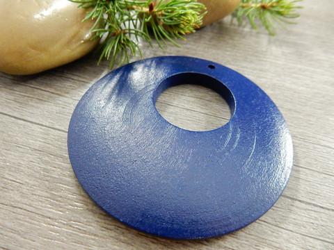 Ympyrä puuriipus, 60mm, sininen, 1kpl