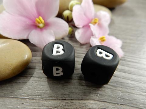 Kirjainhelmi B, 12mm, musta, 1kpl