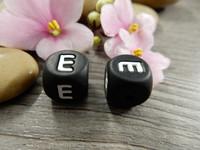 Kirjainhelmi E, 12mm, musta, 1kpl