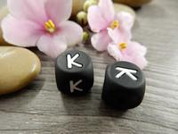 Kirjainhelmi K, 12mm, musta, 1kpl