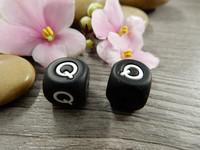 Kirjainhelmi Q, 12mm, musta, 1kpl