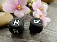 Kirjainhelmi R, 12mm, musta, 1kpl