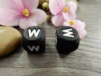 Kirjainhelmi W, 12mm, musta, 1kpl