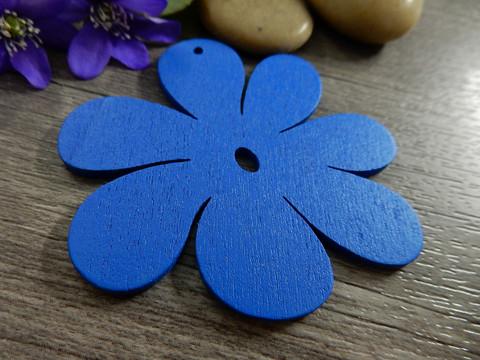 Puuriipus kukka, 50x50mm, sininen, 1kpl