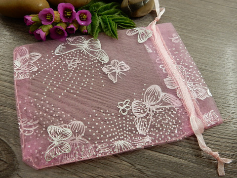 Organza pussi perhonen, 12x9cm, vaaleanpunainen, 1kpl