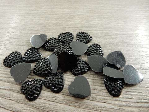 Kapussi sydän, 12mm, musta, 1kpl