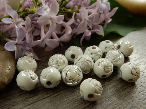 Akryylihelmi ruusu, 8mm, valkoinen/hopea, 20kpl