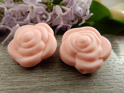 Silikonihelmi ruusu, 21mm, vaaleanpunainen, 1kpl