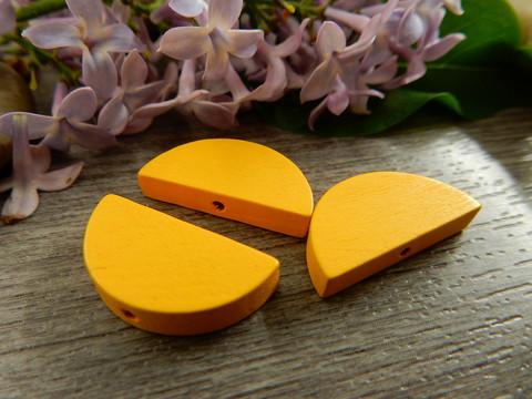 Puoliympyrä puuhelmi, 20x10mm, keltainen, 1kpl