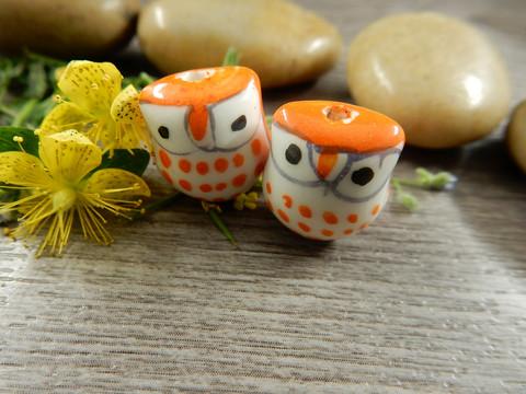 Posliinihelmi pöllö, 15x14mm, oranssi, 1kpl