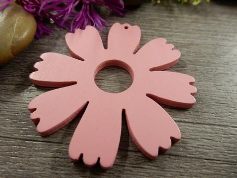 Puuriipus kukka, 48x49mm, vaaleanpunainen, 1kpl