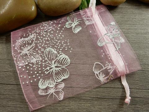 Organza pussi perhonen, 7x9cm, vaaleanpunainen, 1kpl
