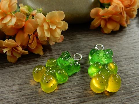 Nalleriipus glitter, 21x11mm, kelta-vihreä, 1kpl