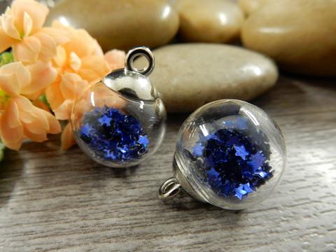 Lasipalloriipus tähdet, 21x16mm, sininen, 1kpl