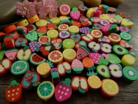Fimohelmi hedelmä, 10mm, mixsetti, 20kpl