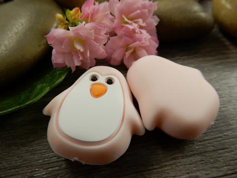 Silikonihelmi pingviini, 26x25mm, vaaleanpunainen, 1kpl