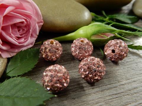 Shamballa helmi, 10mm, roosa, 1kpl