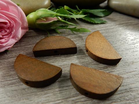 Puoliympyrä puuhelmi, 20x10mm, ruskea, 1kpl