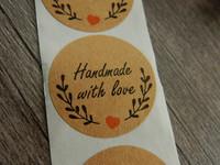 Handmade with love tarra, 25mm, seppele ja sydän, 10kpl
