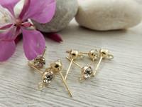 Korvakorutappi lenkillä, 4x13mm, timantti/kulta, 1pari