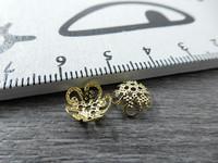 Helmihattu kupera kukka, 8mm, kulta, 20kpl