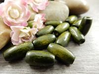 Puuhelmi ovaali, 15x7mm, oliivi, 20kpl