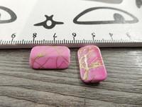 Akryylihelmi, 18x11mm, pinkki/kulta, 1kpl