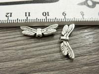 Metallihelmi/ riipus siivet, 20x7mm, kromi, 1kpl