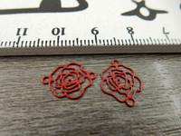 Ruusuriipus/linkki, 10x13mm, punainen, 1kpl