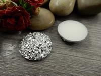 Kapussi glitter, 20mm, hopea, 1kpl