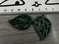 Lehtiriipus, 34x23mm, vihreä/puu, 1kpl