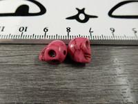 Pääkallo kivihelmi, 9x10x8mm, pinkki, 1kpl