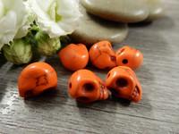 Pääkallo kivihelmi, 9x10x8mm, oranssi, 1kpl