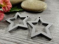 Tähti puuriipus, 24x25mm, harmaa, 1kpl