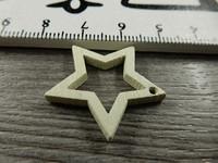 Tähti puuriipus, 24x25mm, luonnonvalkoinen, 1kpl