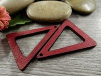 Kolmio puuriipus, 32x25x2.5mm, punainen, 1kpl