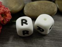Kirjainhelmi R, 12mm, valkoinen, 1kpl