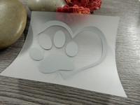 Heijastava kuva sydän ja tassu, 4.5x5cm, 1kpl