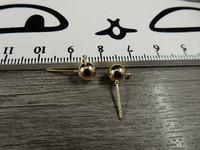 Korvakorutappi lenkillä, 6x17mm, kulta, 1pari